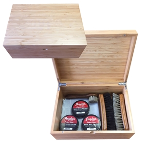 ANGELUS Plain Bamboo Shoe Shine Box, Medium