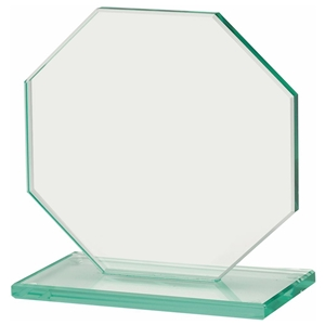 6.75 Inch Octagonal Jade Glass Award 10mm Thick