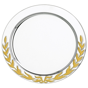 4 Inch Stainless Steel Tray Gold Laurel Wreath