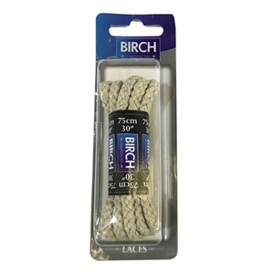 Birch Blister Pack Laces 75cm Chunky Cord Stone