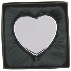 Plain Heart Compact Mirror Hinged In Gift Box