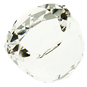 6cm Dome Faceted Edged Glass Paperweight