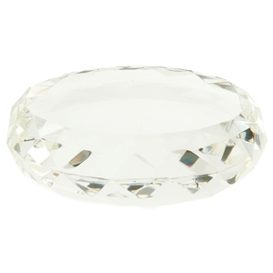 9cm Dome Faceted Edged Glass Paperweight
