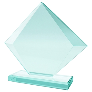 17.5cm Jade Glass Cube Facet Award 10mm Thick