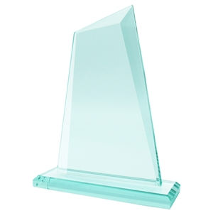17.5cm Jade Glass Sail Facet Award 10mm Thick