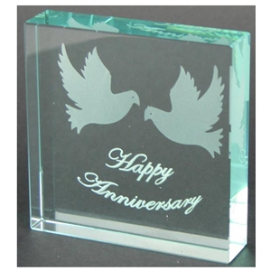 X69020 Glass Block Doves Happy Anniversary
