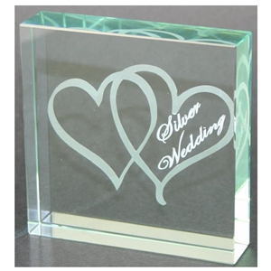 X69125 Glass Block Hearts Silver Anniversary