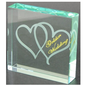 X69150 Glass Block Hearts Golden Anniversary