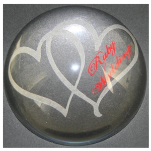 X69240 Glass P. Weight Hearts Ruby Anniversary