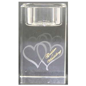 X69863 Glass T.Light Hearts Golden Anniversary