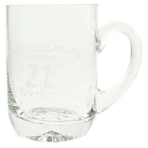 1 Pint Glass Tankard With 21st Birthday Etched Design