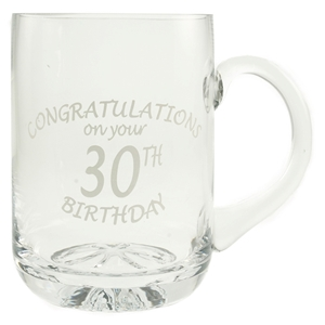 1 Pint Glass Tankard With 30th Birthday Etched Design