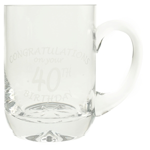 1 Pint Glass Tankard With 40th Birthday Etched Design