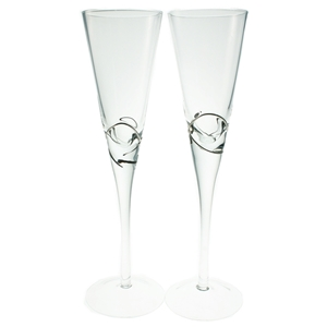 Set 2 Glass Champagne Flutes Silver Detail