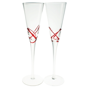 Set 2 Glass Champagne Flutes Red Detail