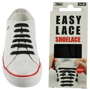 Easy Lace Silicone Shoelaces - Flat Black - Box Of 20 Pieces