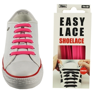 Easy Lace Silicone Shoelaces - Flat Pink - Box Of 20 Pieces