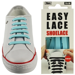 Easy Lace Silicone Shoelaces - Flat Sky Blue-Box Of 20 Pieces