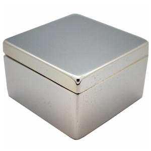 Square Hinged Trinket Box Silver Plated 6 x 6 x 4.5cm