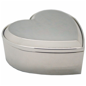 Bevelled Heart Trinket Box Silver Plated 6.5x7.5x2.5cm