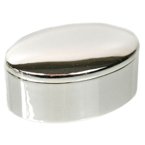 Oval Trinket Box Silver Plated 6.5x5x2.5cm