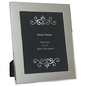 8x10 Inch Silver Plated Plain Wide Picture Frame