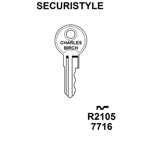 Securistyle R2105 (7249) Window Key KWL25 , HD WL022A,