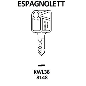 KWL38 Espagnoiette Window Key, HD WL076,