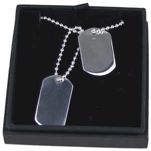 925 Silver Double Dog Tags On 20 Inch Ball Chain