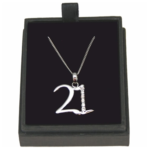 925 Silver 21 Necklace With Cubic Zirconia 18 Inch Chain