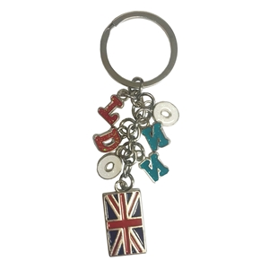 London Charm Key Ring with Letters & Flag