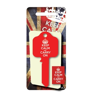 Licensed Keys - Keep Calm and Carry On, Red. Silca Ref UL054