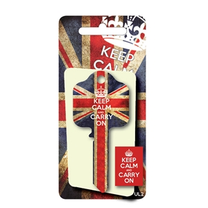Licensed Keys - Keep Calm and Carry On, Union Jack - Blue