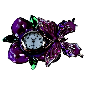 CH-T Butterfly On Leaf Miniature Clock