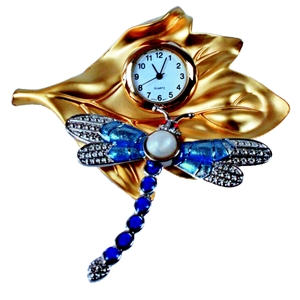 CH-W Dragonfly On Leaf Miniature Clock