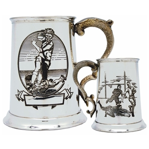 Rugby Scene One Pint Pewter Tankard