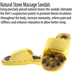 Natural Stone Massage Sandals Dual Size 5-6 Medium - Yellow