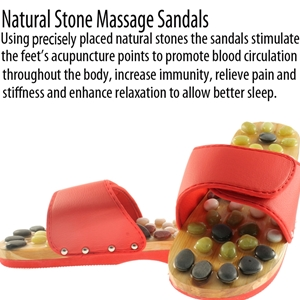 Natural Stone Massage Sandals Dual Size 7-8 Large - Red