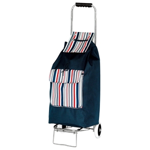 Clarence 2 Wheel Shopping Trolley With Navy Blue Stripes