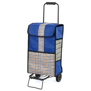 Highgrove 2 Wheel Shopping Trolley, Blue With Gingham