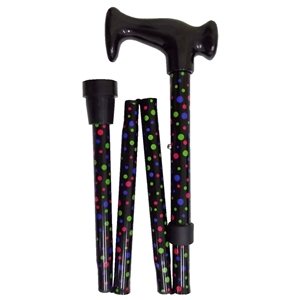 Four Fold Walking Stick Black Mini Spot-Black Escort Handle