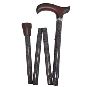 Four Fold Walking Stick Reptile Skin Pattern with Brown Derby Handle