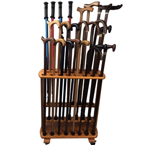 Wooden Walking Stick Display Including Walking Sticks