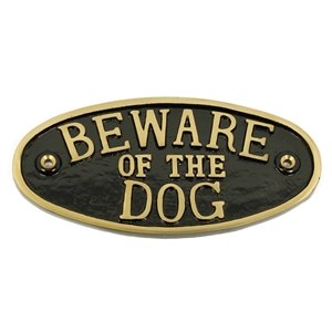 Cast Brass Beware Of The Dog Large Sign Black 200 x 100mm