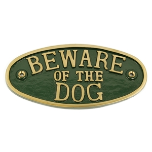 Cast Brass Beware Of The Dog Large Sign Green 200 x 100mm
