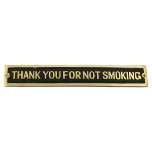 Cast Brass Thank You For Not Smoking Sign Black 248 X 41mm