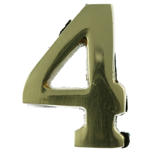 Small 32mm Brass Number 4 Self Adhesive