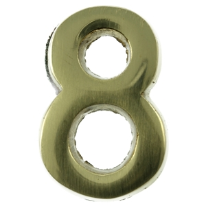 Small 32mm Brass Number 8 Self Adhesive