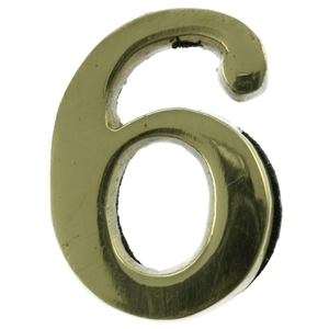 Large 51mm Brass Number 6 Self Adhesive