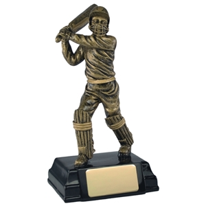 7.75 Inch Resin Cricket Batsman Award Antique Gold